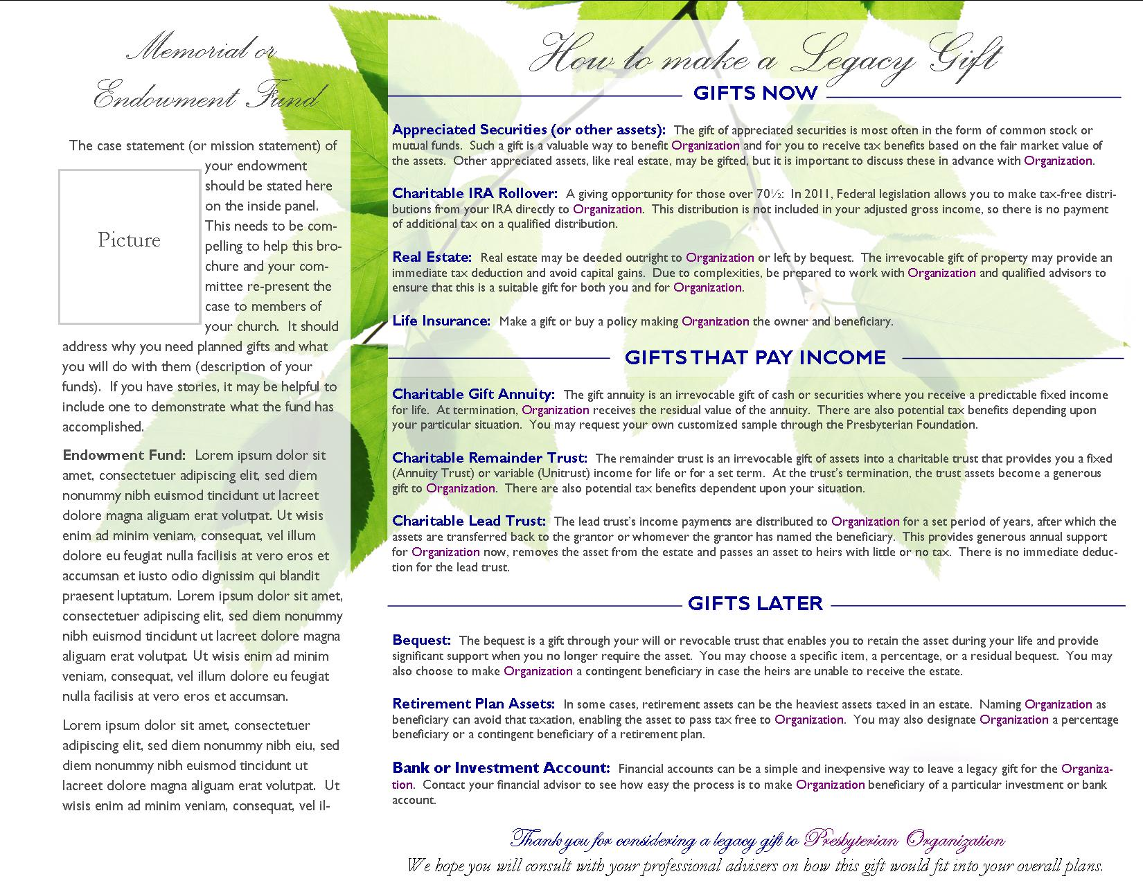 Planned Giving And Endowment Brochure General Template - Planned giving brochures templates