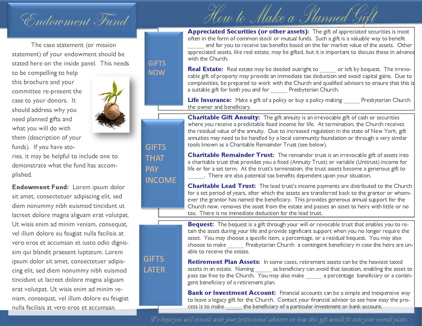Planned Giving And Endowment Brochure General Template - 85x11 tri fold brochure template